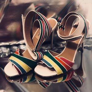 Valentino Rainbow Ankle-Wrap High Sandal